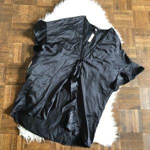 Victorias Secret OS Black Satin Komono Robe NWT